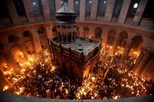 Orthodox Church of the Holy Sepulchre which houses the burial place of Christ. Consecrated in 335 AD